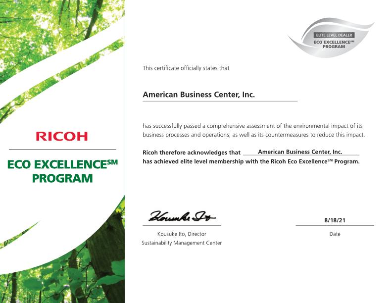 RICOH Elite Dealer Eco Excellence Program